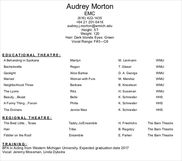 Professional Acting Resume  Professional Acting Resume