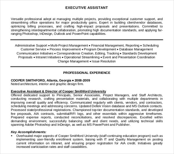 professional executive assistant resume