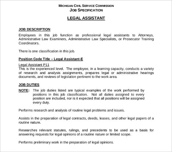professional legal assistant job description