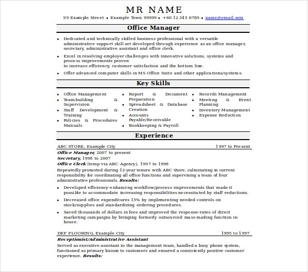 Office Manager Resume Templates  Pdf Doc  Free  Premium