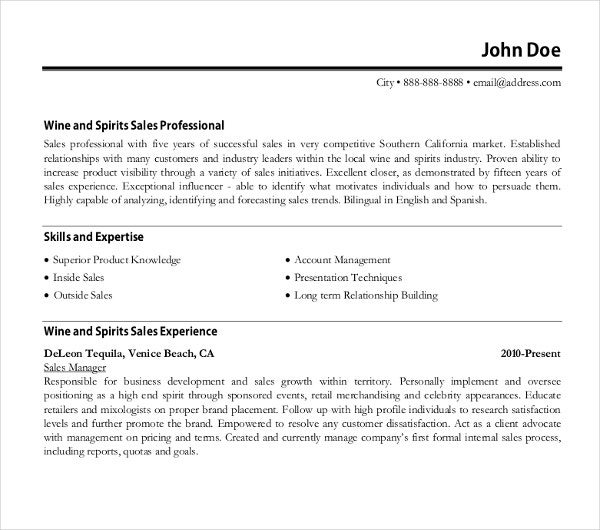 professional sale resume template