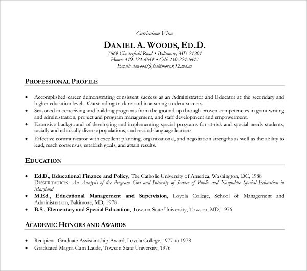 professional teaching curriculum vitae template