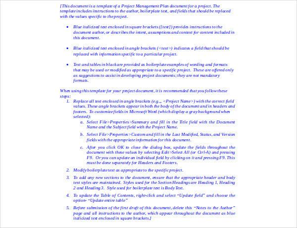 project management plan template