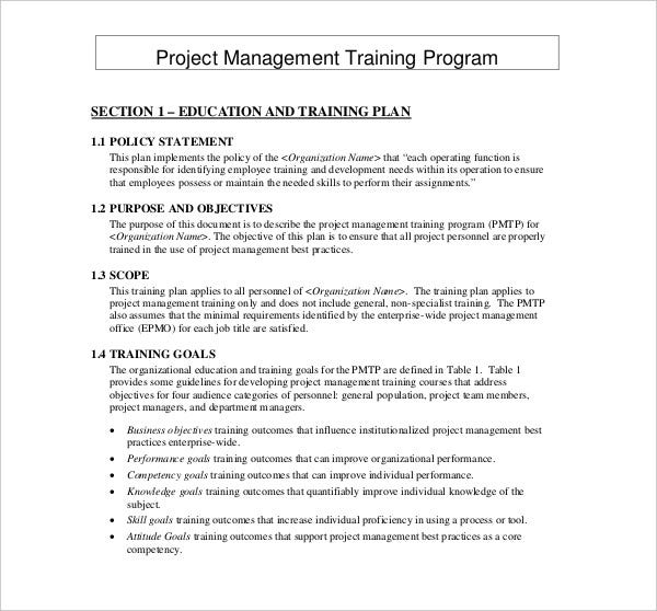 project management training plan