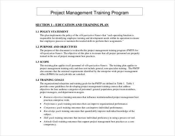 project management training program plan
