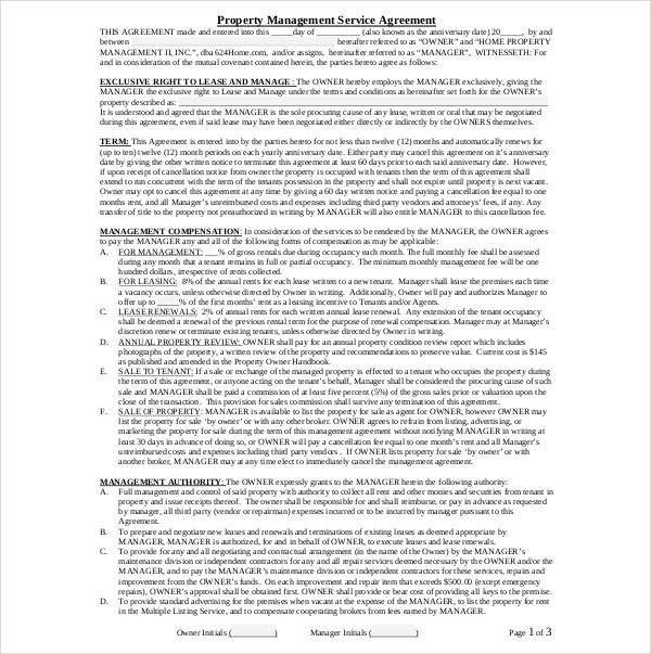 property management service agreement
