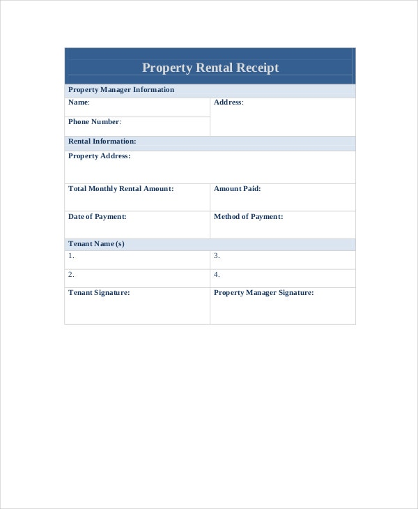 Property Rental Receipt Template