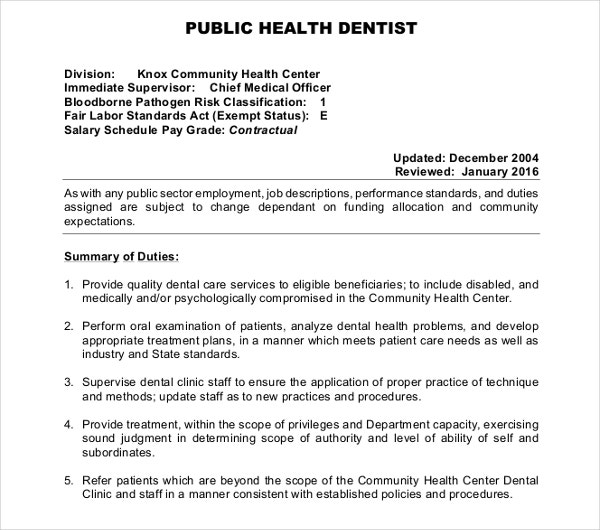 Public Health Dentist Job Description Template