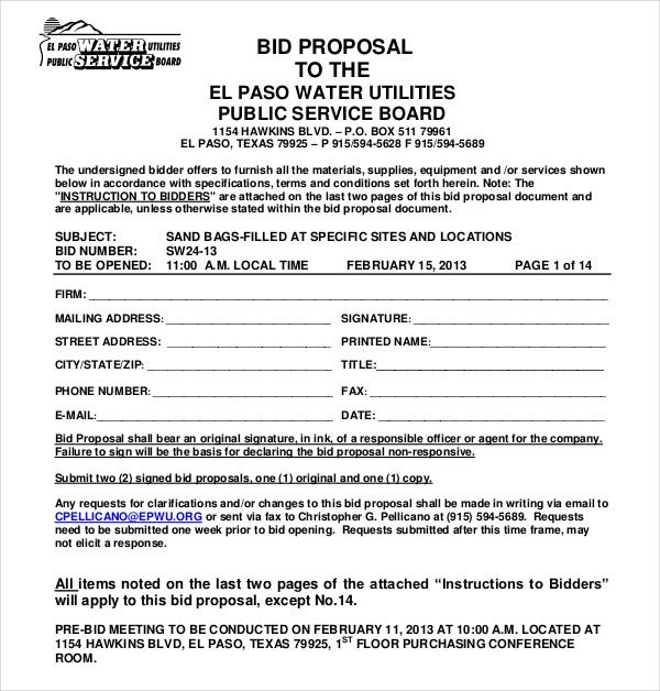 public service bid proposal