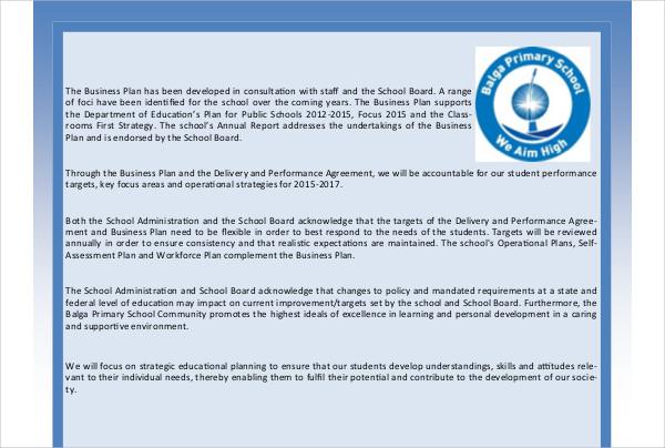 publisher school business plan