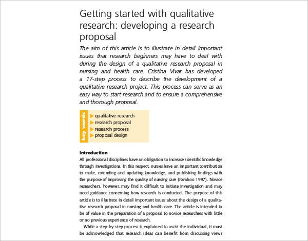 qualitative research developing proposal