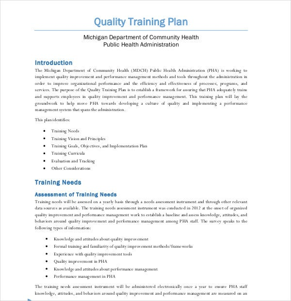 quality team training plan