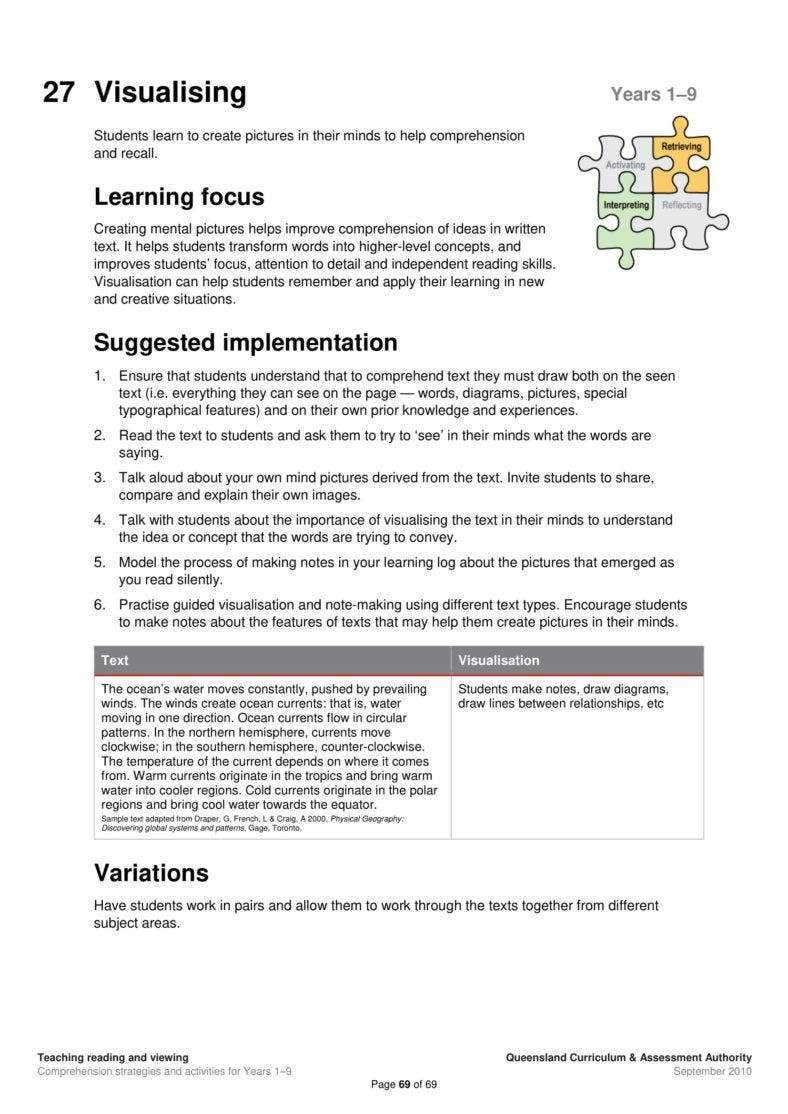 Reading Worksheet Guide for Teachers