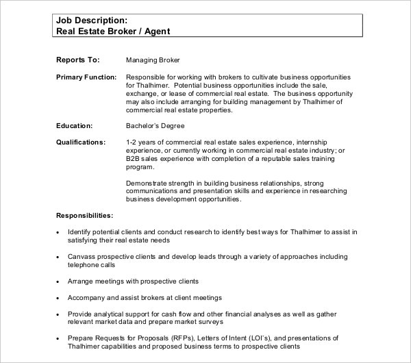 Real Estate Job Description Templates  Pdf Doc  Free