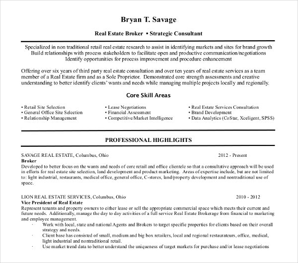 real estate executive resume template