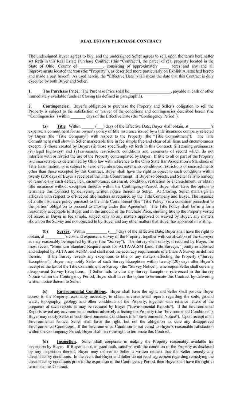 8+ Real Estate Purchase Agreement Templates - PDF | Free & Premium ...