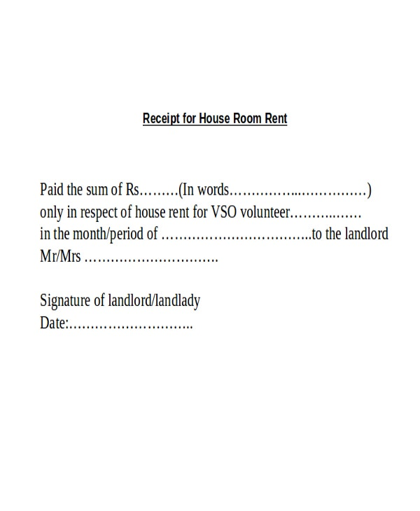 receipt of house room rent