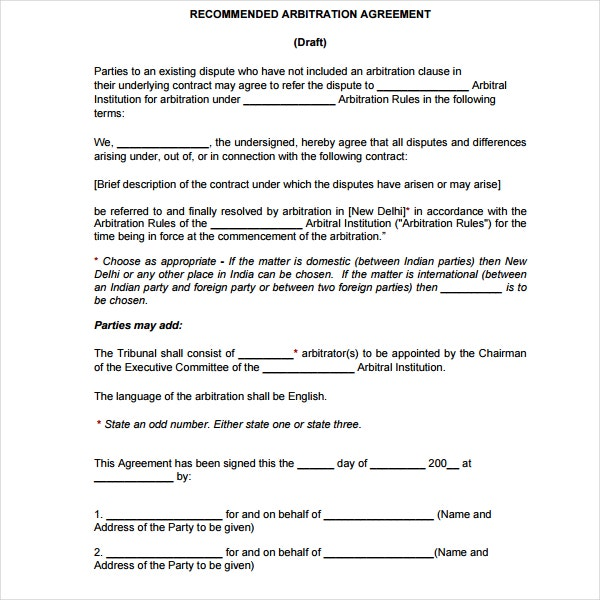 recommended arbitration agreement