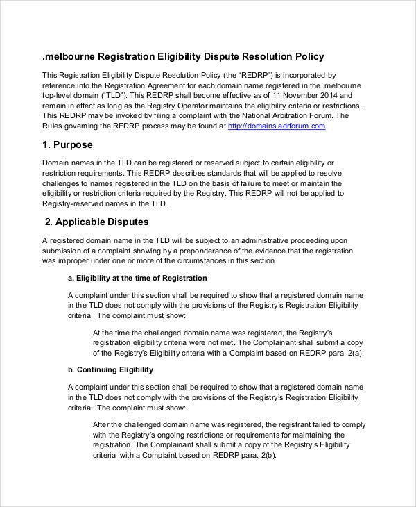Registration Eligibility Dispute Resolution Policy