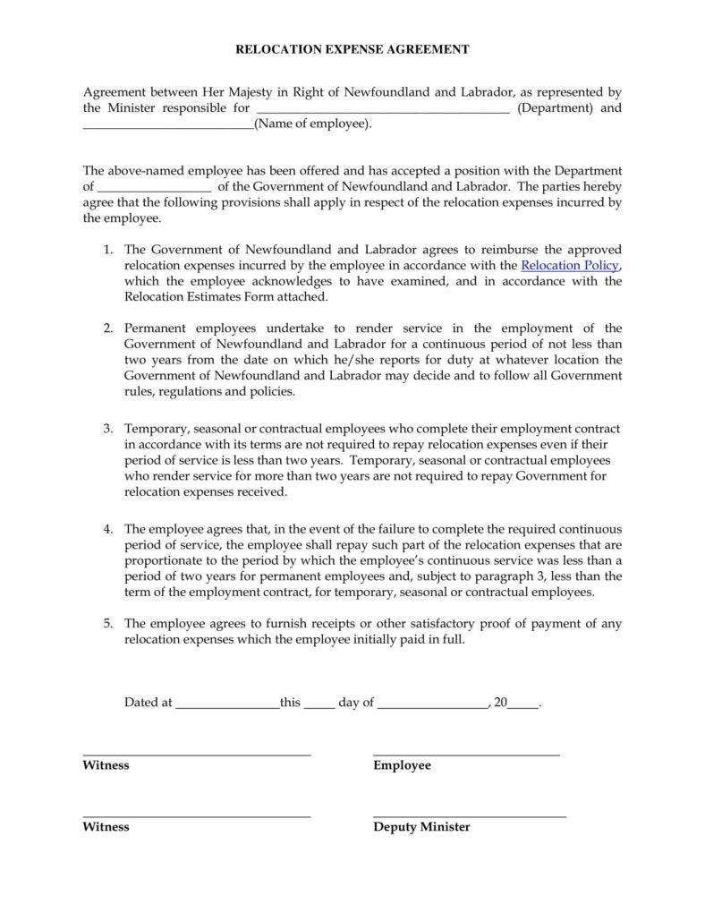 12 Relocation Agreement Templates PDF