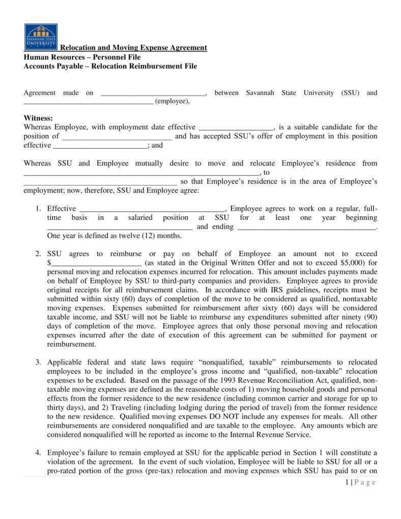 12 Relocation Agreement Templates Pdf Free Premium Templates