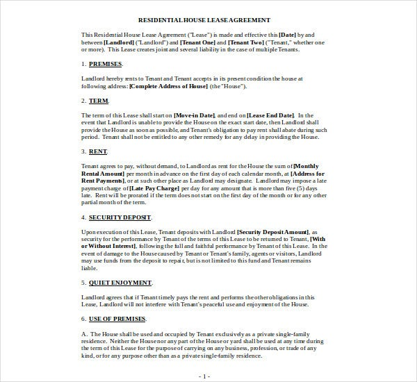 residential house lease agreement