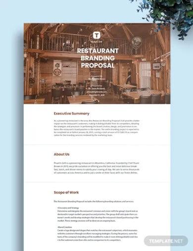 restaurant branding proposal template