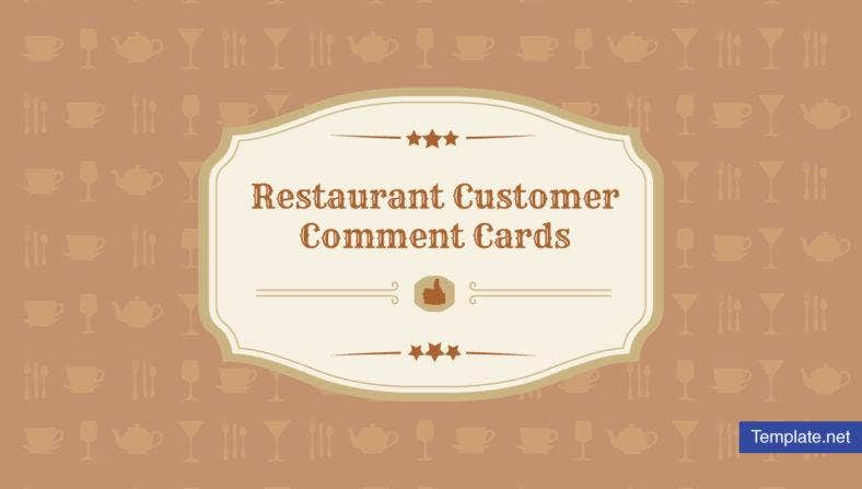 Restaurant Customer Comment Card