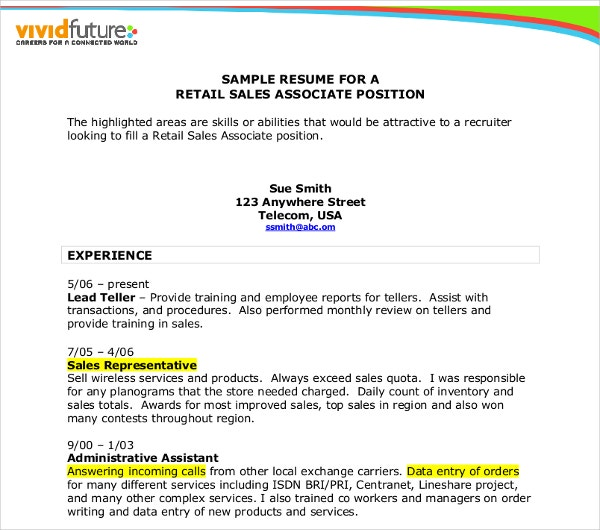 retail sales association resume