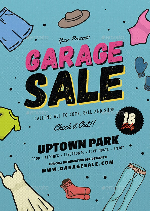 retro style garage sale flyer