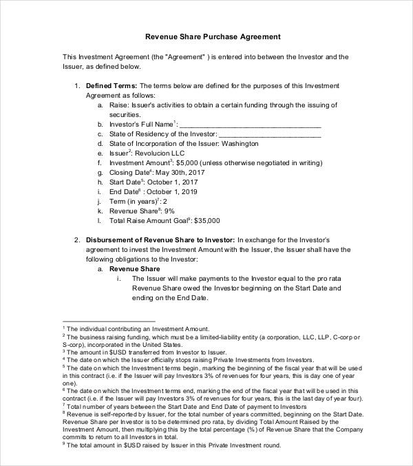 revenue share purchase agreement