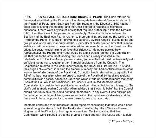 royal hall restoration business plan