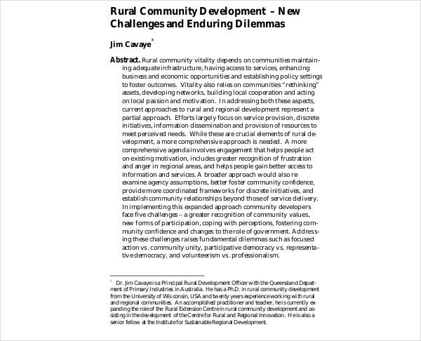 rural community development plan