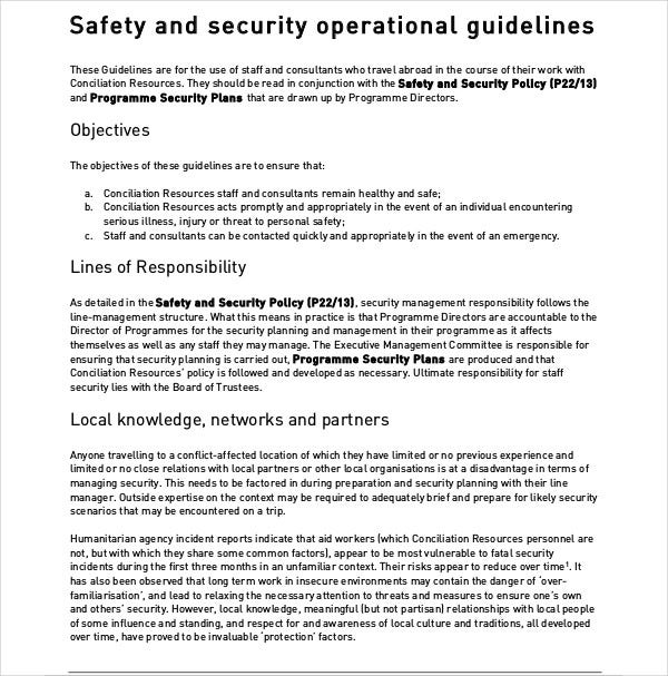 Safety Security Operational Plan