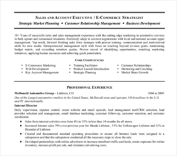 sales internet director resume