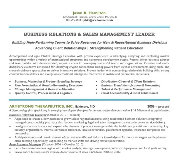 10+ Sales Manager Resume Templates - PDF, DOC | Free