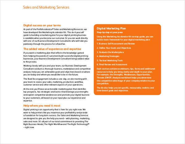 sales services marketing plan