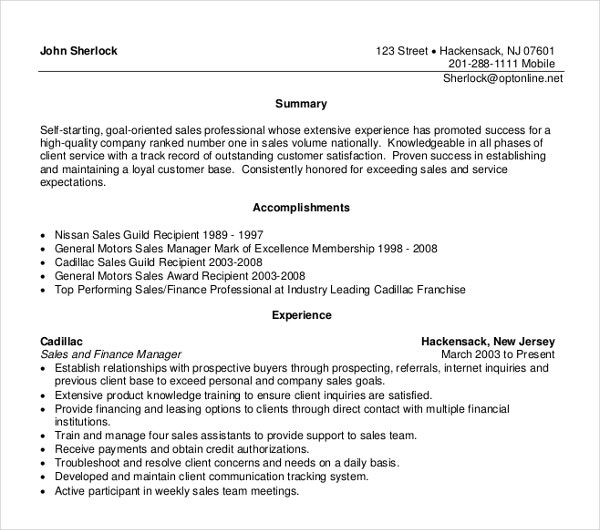 sales and finance manager resume