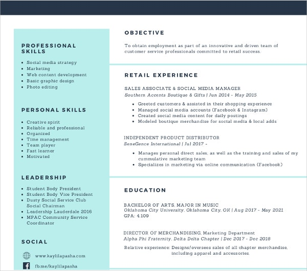 Sales And Social Media Manager Resume