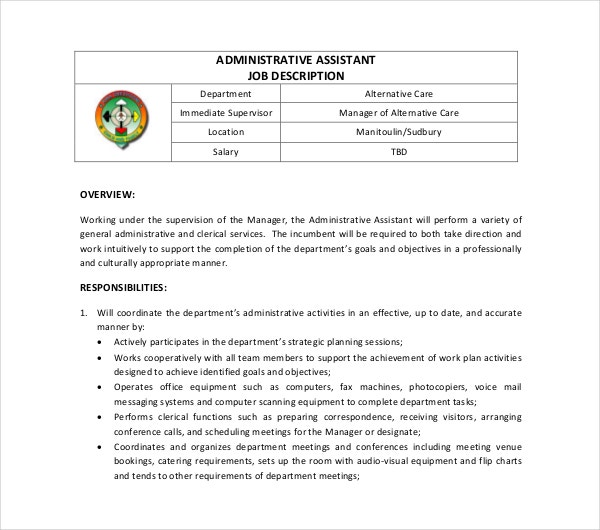 sample administrative job description template