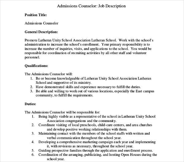 sample admission counselor job description template