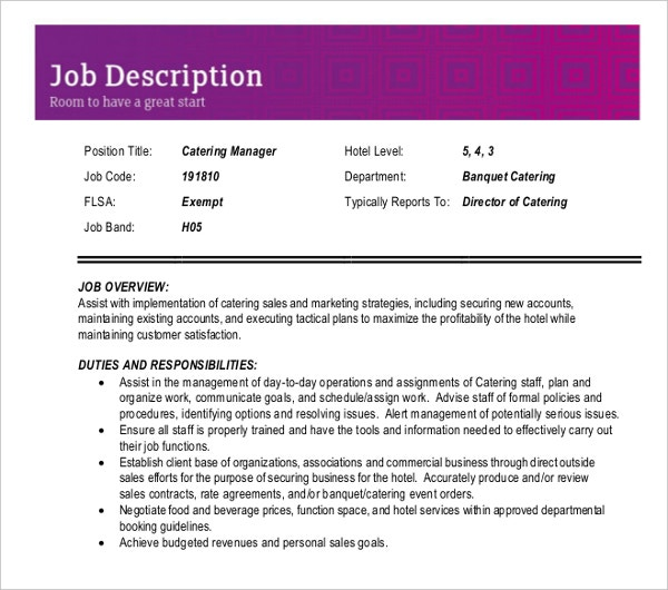 Sample Catering Sales Manager Job Description  Catering Manager Job Description