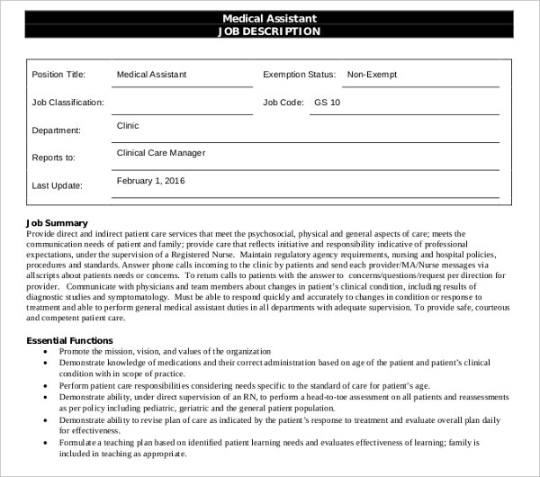 sample clinic medical assistant job description