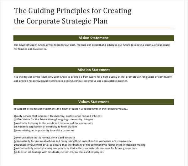 sample corporate strategic plan