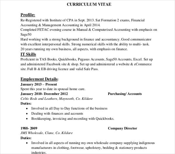 sample for curriculum vitae