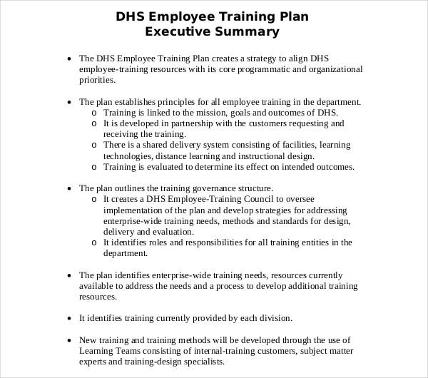 sample employee training plan