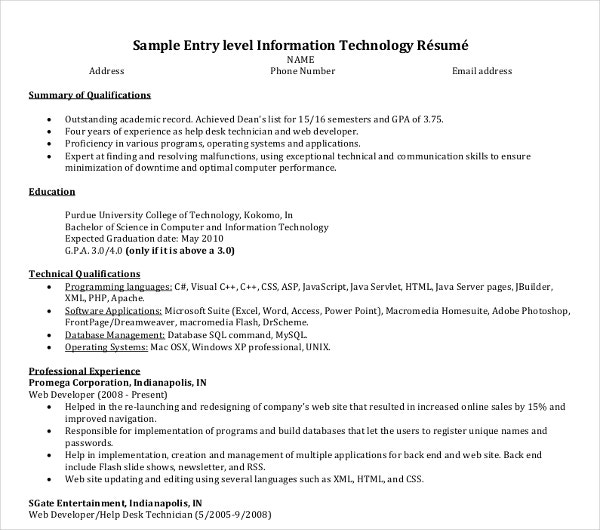 information technology entry level resumes - Topa ...