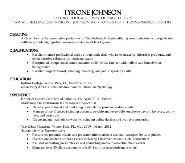 sample experience work resume