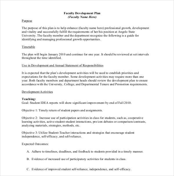 sample faculty development plan
