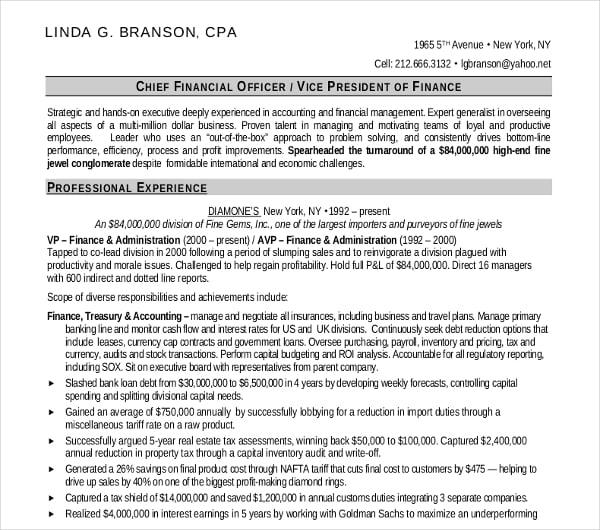 sample finance officer resume